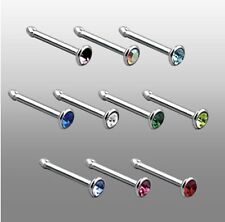 Sterling silver Nose Stud Smallest 1mm crystal Nose  Ring Ball END  NS-085