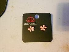 Paparazzi Kids Earrings (new) NEON FLOWER W/SM STONE RED