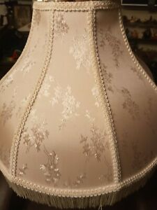 "Vintage Victorian Style Ivory Lamp Shade With Fringe 14"" tall 6"" top 17"" bottom"