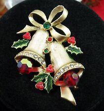Vintage CHRISTMAS BELLS  PIN Rhinestone Brooch RED AB CRYSTAL BEADS Green Holly