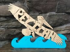Flying Pelican Bird Wooden Nautical Puzzle Toy Amish Made