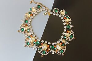 1980' JEWELED CRACKED EASTER EGG RUNWAY NECKLACE BY ARNOLD SCAASI JULIANA STYLE