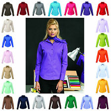 Ladies Womens Long Sleeve Blouse Shirt Business Work Top 30 Colours Size 6 - 26