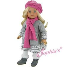 "FAIR ISLE Gray Dress White Leggings Pink Scarf Hat 18"" American Girl Doll winter"
