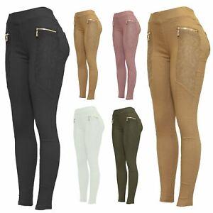 New Ladies Biker Style Zip Detail Lace Jeggings Leggings Pants
