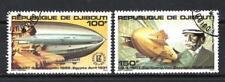 Ballons et Dirigeables Djibouti (12) série complète de 2 timbres oblitérés