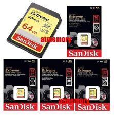Sandisk Extreme 16GB 32GB 64GB 128GB 256GB SD SDHC SDXC lot Memory Card C10 4K