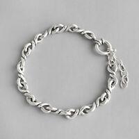 NEW Minimalist Genuine S925 Sterling Silver Braided Twist Rope Chain Bracelet