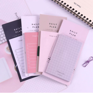 Sleek Sticky Note Memo Pad Daily Plan Cute Aesthetic Stationary Grid 50 Sheets