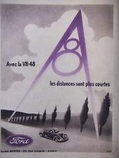 PUBLICITÉ DE PRESSE 1935 FORD V8 D'UN BOUT DU MONDE A L'AUTRE BOUT - ADVERTISING