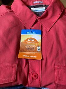 Columbia Men's Short Sleeve Shirt OMNI SHADE Sun Protection 40UPF Sunset Red01 S