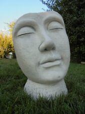 Gartenfiguren, Skulpturen, Maske, Gesicht, Steinguss, 52 cm, Büste, Gartendeko