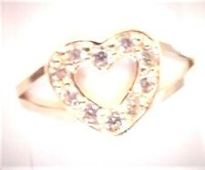 10KT PURE SOLID YELLOW GOLD CHILDREN'S CUBIC ZIRCONIA HEART RING! ...Size 3 1/2
