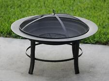 """New listing 28"""" Fire Pit Outdoor Firepit Metal Backyard Patio Garden Antique Stove W/ Cover"""