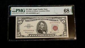 1963 FIVE DOLLAR PMG SUPERB GEM 68 U.S. RED SEAL NOTE FR# 1536 HI GRADE $5 BILL!