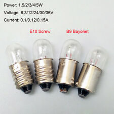 10x B9 E10 Screw/Bayonet Indicator Light Bulb Lamp 6.3/12/24/30/36/48V 1.5/3/5W