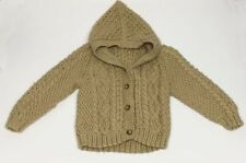 Hand Made Knit Baby Hooded Sweater Tan