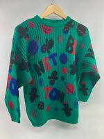 Vintage Green Multi-color Space Benetton Logo Sweater 1980's Benetton Wool