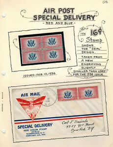 Ornate Printed Page FDC 1936 AIRMAIL SPECIAL DELIVERY CE2 BiColor Stamp