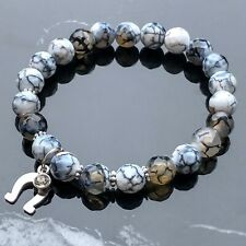 Silver Horseshoe and Faceted Fire Agate Natural Gemstone Beaded Bracelet