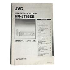 JVC HR-J715EK Video Cassette Recorder Instructions Manual