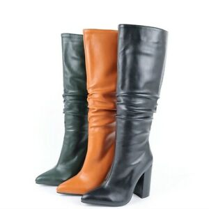 Women Knee-high Boots Block High Heel Pointed Toe Side Zip Retro Long Boot Shoes