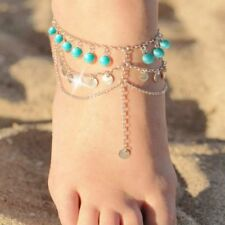 Chain Anklets Ankle Chain Green Round Bead And Paillette Anklets Foot Bracelet