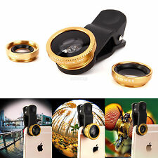 3 in 1 Lens Kit Fish Eye +Wide Angle +Macro Camera For iPhone 5 6S Samsung S6 S7