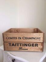 Vintage Style  Wooden Taittinger Champagne Wine Crate Box Storage Shabby Chic