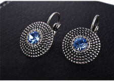 Silver Plated  Vintage Crystal Blue  Beads Round Statement Clip Earrings UK