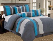 7-PC  Micro Suede Comforter Set Gray Turquoise King Size New