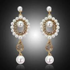 New Fashion Women Rhinestone Pearl Long Wedding Bridal Party Drop Stud Earrings
