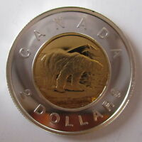 2005 CANADA TOONIE PROOF SILVER WITH 24K GOLD PLATE TWO DOLLAR COIN