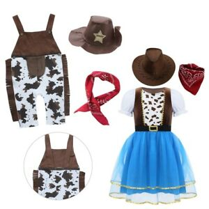 Kids Cowboy Cowgirl Fancy Dress Cows Pattern Outfit Cosplay Costume Dress Up Set