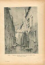Maisons sur l'Odon Rivière à Caen Normandie Calvados GRAVURE ANTIQUE PRINT 1914