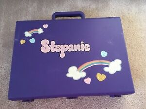 Purple clik case hand painted Stephanie name in bubble letters and 2 rainbows