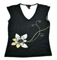 The Limited Stretch Women S Sleeveless V-Neck Floral Print Tank Top Blouse Black