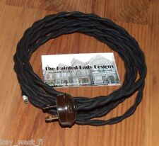 BLACK ~ 7' Vintage Lamp Cord ~ Twisted Cloth Covered Wire w/ Acorn Plug ~ by PLD
