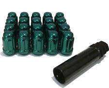 Aleación Tuercas de Rueda Sintonizador Verde (20) Pernos 12x1.25 para Subaru Stella 14-16