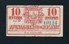 F.C. ALICANTE, 10 CENTIMOS DE 1937, SERIE D, B/C+.