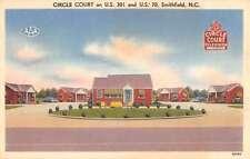 Smithfield North Carolina Circle Court Street View Linen Antique Postcard K14300