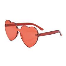 Oversized Candy Color Heart Shaped Sunglasses Women Clear Lens Frameless Glasses
