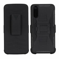 Black Rugged Armor Hybrid Impact Case Belt Clip Holster Stand Cover For Huawei