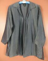 TB08103- EILEEN FISHER Women's Silk Blend Open Front Lightweight Jacket Gray S