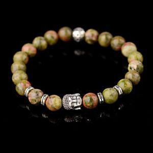 2019 Fashion Men's Green Unakite Silver Buddha Beads Charm Lucky Women Bracelets