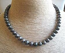 """Classic Blue/Grey Freshwater Pearl Necklace - Silver Clasp - 16"""""""