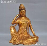 China fane bronze Gilt Free Kwan-yin Guan Yin Goddess Boddhisattva Buddha Statue