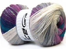 Lot of 4 x 100gr Skeins Ice Yarns MAGIC LIGHT Yarn Navy Blue Purple Grey White