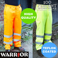 Pro Heavy Duty Trade High Visibility Cargo Work Safety Trousers Pants Hi Vis Viz