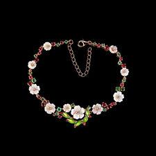 925 Silber Armband Rotgold beschichtet Rot Rubin Grün Smaragd CZ Perlmutterrosen